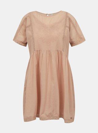 Staroružové šaty s výšivkou Pepe Jeans Milena