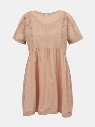 Starorůžové šaty s výšivkou Pepe Jeans Milena