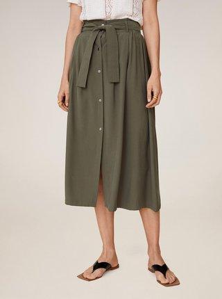 Khaki midi sukně Mango Bowie