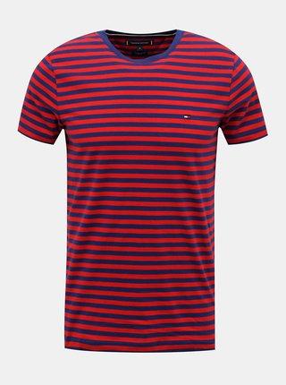 Modro-červené pánske pruhované tričko Tommy Hilfiger