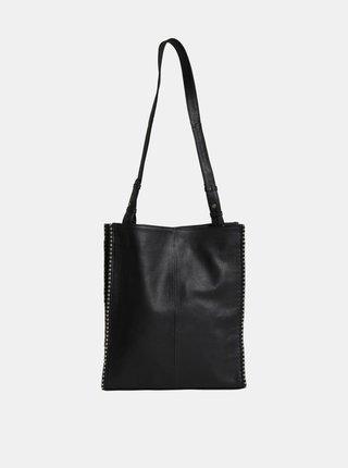 Čierny kožený shopper Object