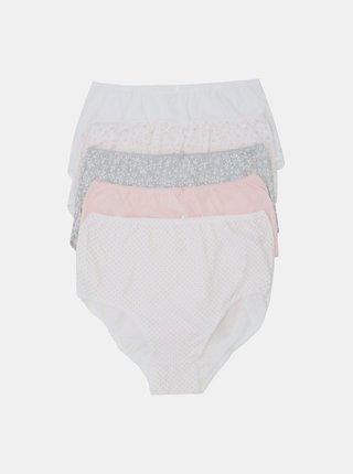 Sada piatich vzorovaných nohavičiek v šedej a ružovej farbe M&Co
