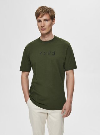 Tmavě zelené tričko Selected Homme Ryan