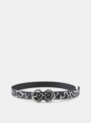Černo-šedý pásek s leopardím vzorem Pieces Masja