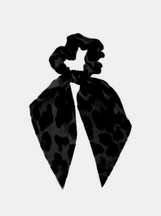 Černo-šedá gumička s leopardím vzorem Pieces Mascha