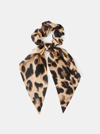 Čierno-béžová gumička s leopardím vzorom Pieces Mascha