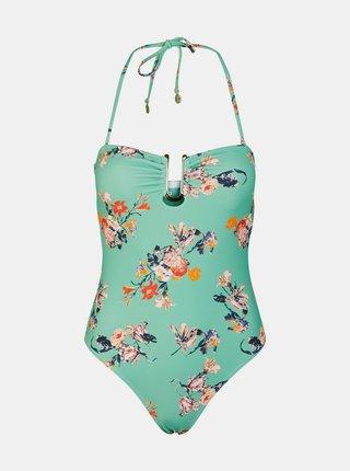 Tyrkysové kvetované jednodielne plavky Pieces Nynne