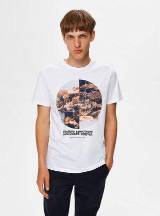 Biele tričko s potlačou Selected Homme Zander