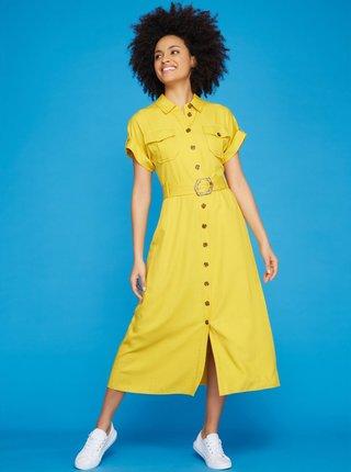 Žlté košeľové midišaty M&Co