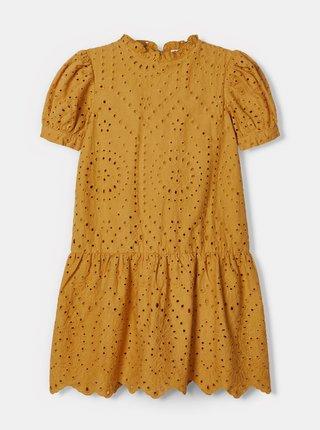 Hořčicové holčičí šaty s madeirou name it Denisa