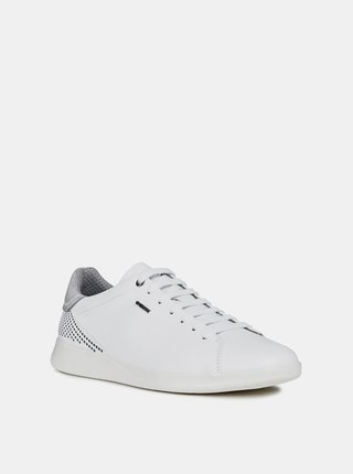 Biele pánske kožené tenisky Geox Kennet