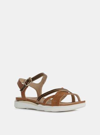Hnědé dámské sandály s koženými detaily Geox Hiver