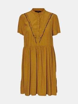 Horčicové voľné šaty VERO MODA Vivian