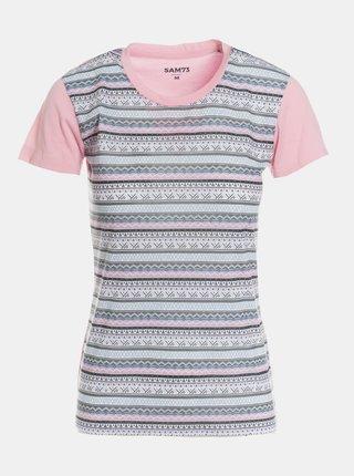 Šedo-růžové dámské vzorované tričko SAM 73