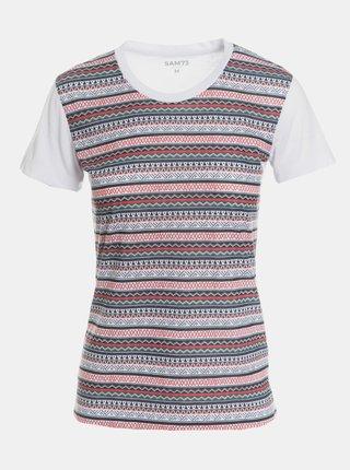 Šedo-biele dámske vzorované tričko SAM 73