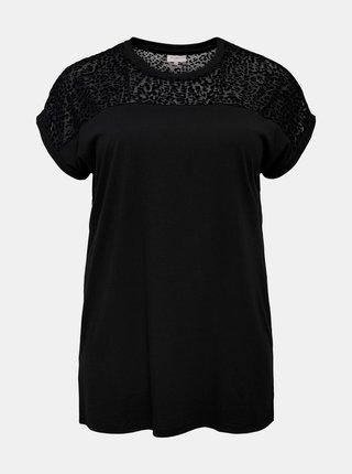 Černé vzorované tričko ONLY CARMAKOMA