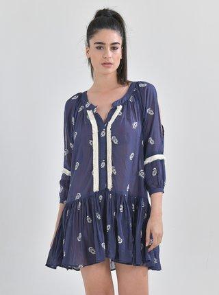 Tmavě modré vzorované šaty Ble