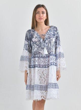 Modro-bílé vzorované šaty Ble