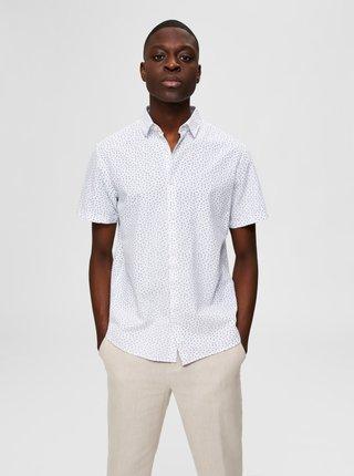 Biela vzorovaná košeľa s prímesou ľanu Selected Homme