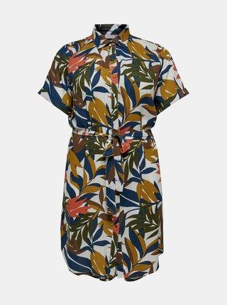 Modro-hnědé vzorované košilové šaty ONLY CARMAKOMA Isabel