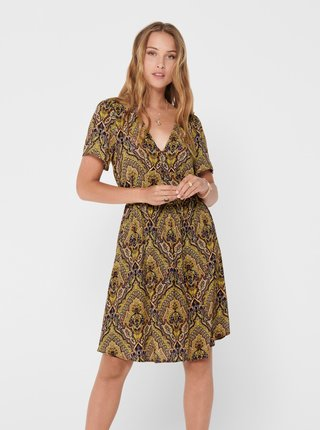 Hnedé vzorované šaty ONLY Vide