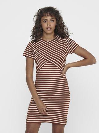 Hnedé pruhované šaty ONLY Laila