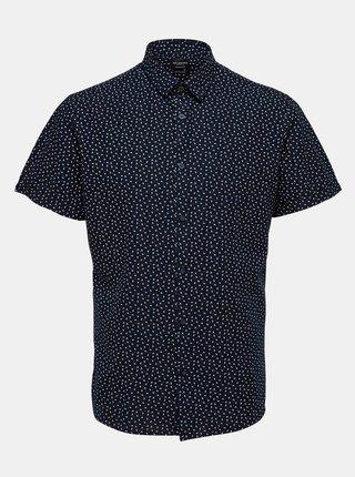 Tmavomodrá vzorovaná košeľa s prímesou ľanu Selected Homme