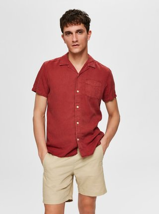 Červená košeľa s prímesou ľanu Selected Homme