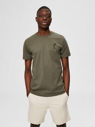 Khaki tričko Selected Homme Wayne