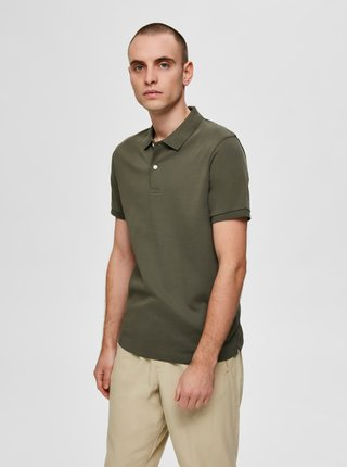 Khaki polo tričko Selected Homme Paris
