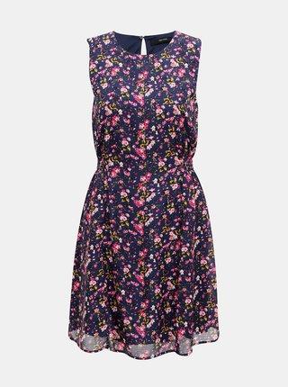 Tmavě modré květované šaty VERO MODA Vilde