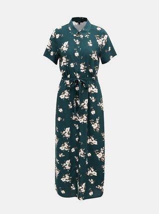 Tmavozelené kvetované košeľové maxišaty VERO MODA