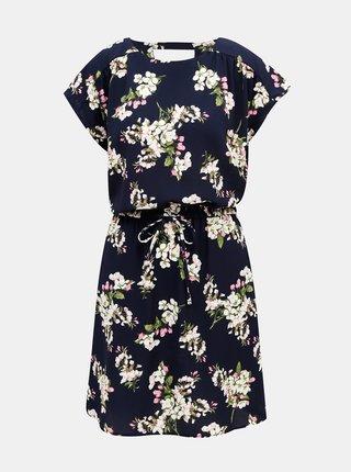 Tmavomodré kvetované šaty VERO MODA Sasha