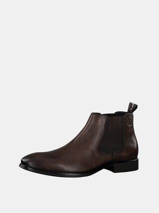 Hnedé pánske kožené chelsea topánky s.Oliver