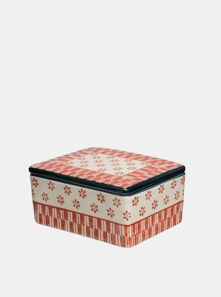 Krémovo-červená vzorovaná dóza na máslo Tranquillo Home Marie