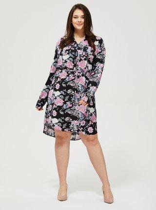 Růžovo-černé květované šaty Moodo