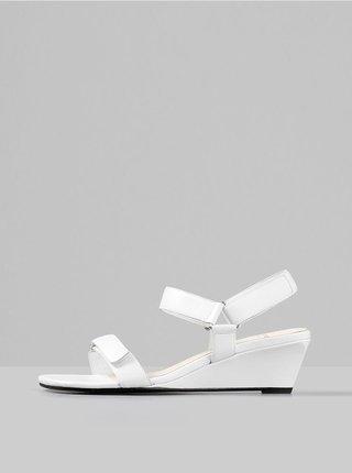 Biele kožené sandálky na plnom podpätku Vagabond Nellie