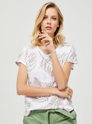 Biele vzorované tričko Moodo