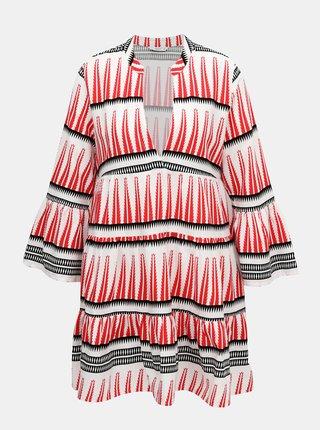 Bielo-červené vzorované šaty ONLY Lucca