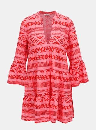 Ružové vzorované šaty ONLY Lucca