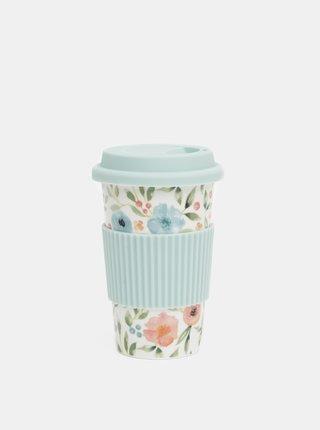 Bílo-modrý květovaný keramický cestovní hrnek Cooksmart