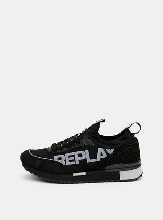 Černé pánské tenisky se semišovými detaily Replay