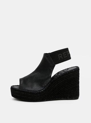 Čierne dámske sandálky na plnom podpätku Replay