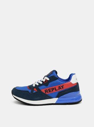 Modré pánske tenisky so semišovými detailmi Replay
