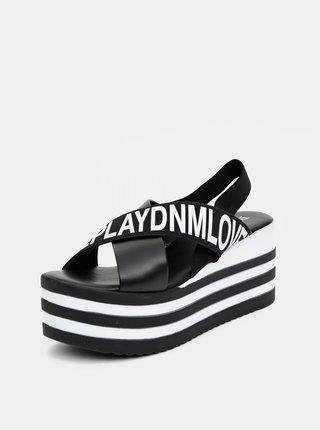 Čierne dámske sandálky na platforme Replay