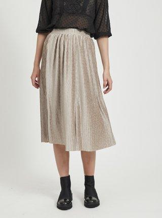 Béžová plisovaná sukně VILA Pleasa