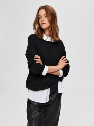 Černý svetr s příměsí vlny Selected Femme