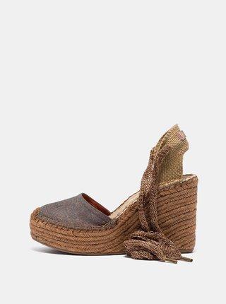 Hnědé dámské sandálky na klínku Replay