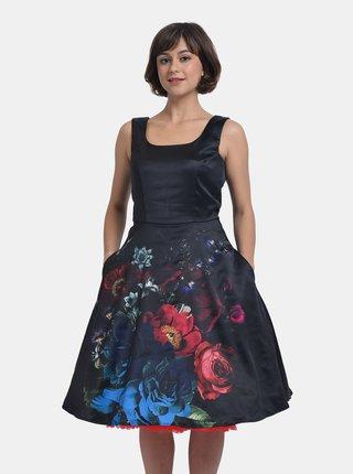 Černé květované saténové šaty Dolly & Dotty