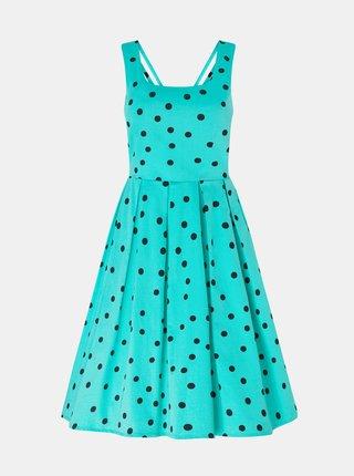 Tyrkysové bodkované šaty Dolly & Dotty